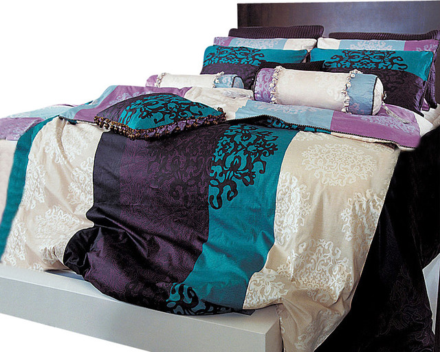 queen duvet cover sets Turquoise, Purple And Black Damask Queen Duvet Cover Set   Duvet  queen duvet cover sets
