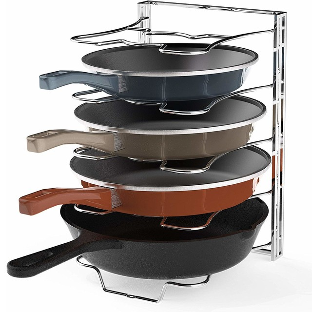 Pleasant Kitchen Cabinet 5 Adjustable Compartments Pan And Pot Lid Organizer Rack Holder Interior Design Ideas Inesswwsoteloinfo