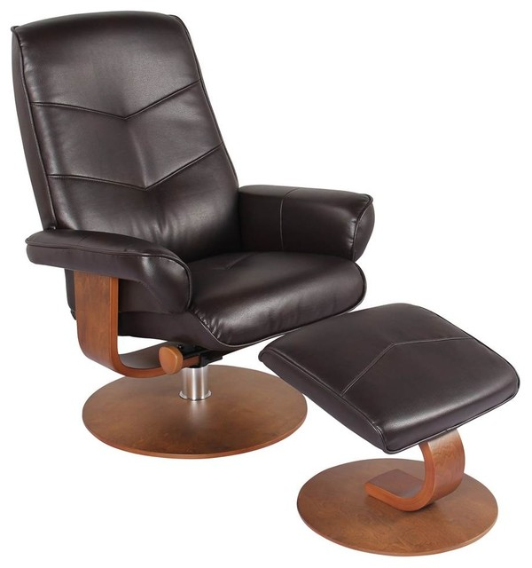 Swivel Recliner Chair and Ottoman in Jave by New Ridge Home Goods