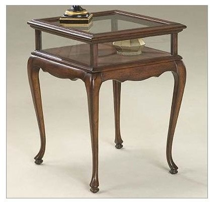 Gl Sides Curio Table In Cherry Finish