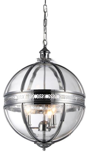 """Olsen 3-Light Clear Glass 16"""" Round Finish Chandelier, Chrome"""