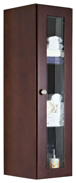 "Transitional Cherry Wood-Veneer Wall Curio in Coffee, 11.75""x47.75 ..."