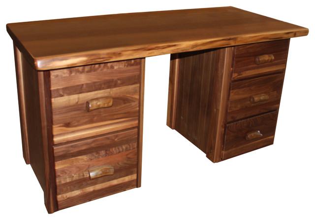 Walnut Office Desk Rustic Desks And Hutches