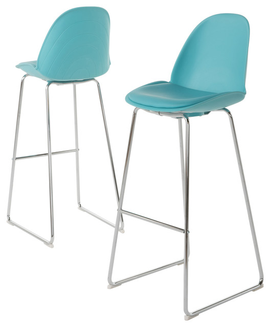 Hanaryn Contemporary Light Blue Bar Chairs Set Of 2 Stools