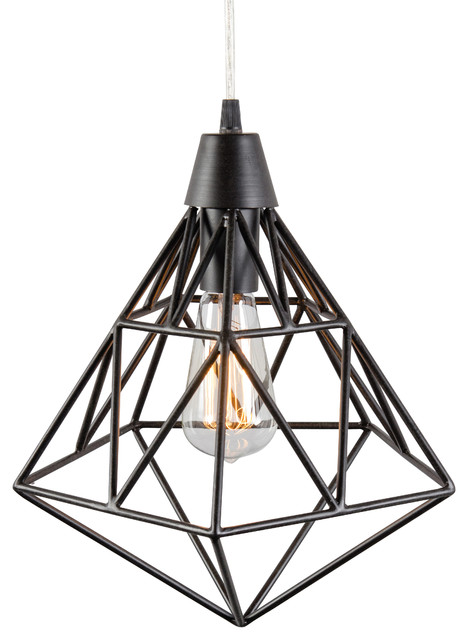 Facet 1-Light Pendant, Forged Iron.