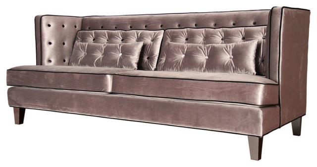 Armen Living Moulin Sofa Velvet Gray And Black Piping
