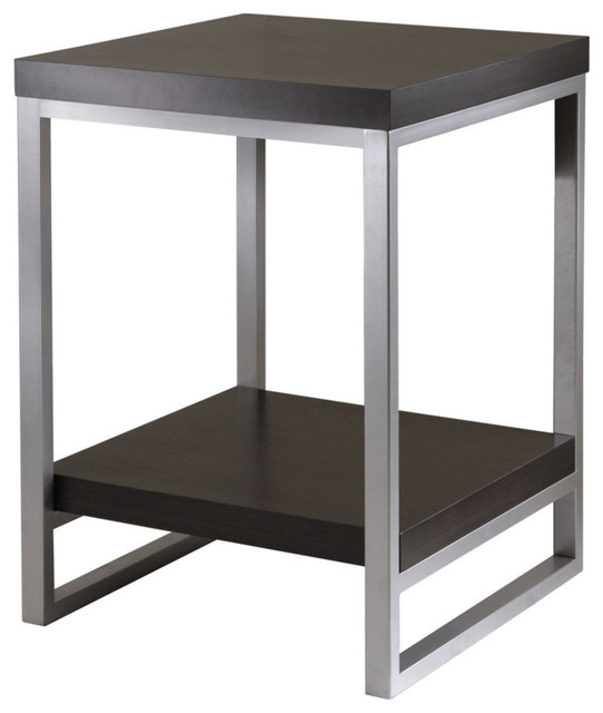 Great Jared Enamel And Steel End Table, Dark Espresso Contemporary Side Tables And