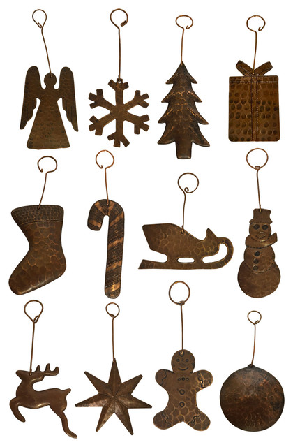 Copper Christmas Ornaments.Hand Hammered Copper Christmas Ornaments 12 Piece Set