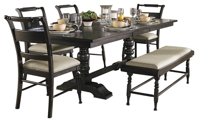 b0df5a3677 Liberty Furniture Whitney 6 Piece 94x42 Dining Room Set w/ Bench in Black,  Dark - Traditional - Dining Sets - by Veloxmart LLC