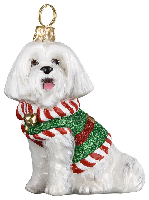 Maltese Santa's Little Yelper Ornament - Diva Dogs Maltese, Hounds Tooth Sweater Ornament - Contemporary
