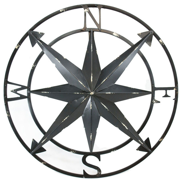 Compass Rose Metal Wall Art Home Decor Flat Black Finish