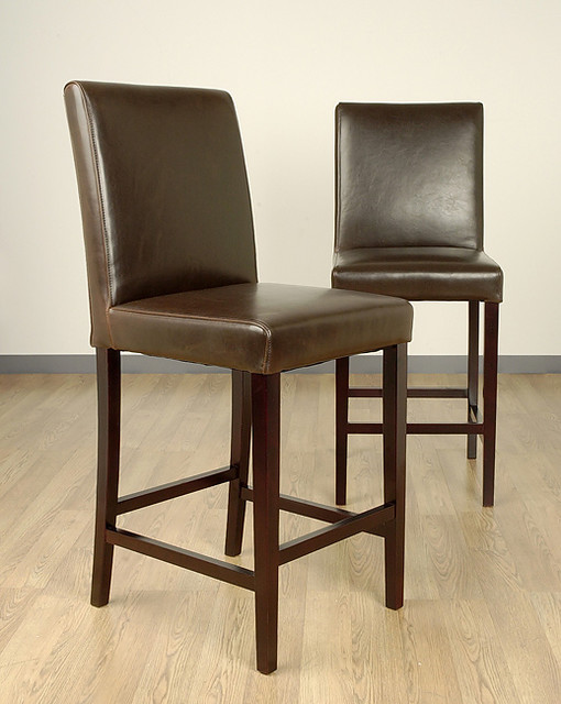 Incredible Andre 24 Inch Dark Brown Leather Counter Stools Set Of 2 Evergreenethics Interior Chair Design Evergreenethicsorg