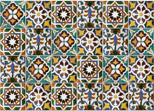 Green Tiles Kitchen Panel Mediterranean Wall Decals
