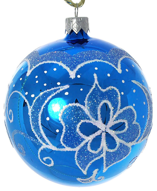 Diadem Hand Painted Glass Christmas Ornament Blue Glossy
