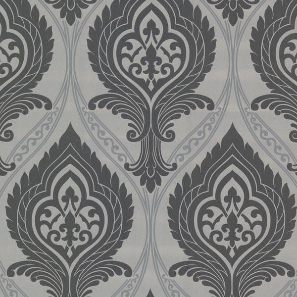 Acasta Black Damask Wallpaper Roll