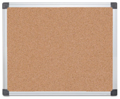 """Mastervision Value Cork Bulletin Board With Aluminum Frame, 24""""X36"""", Natural"""