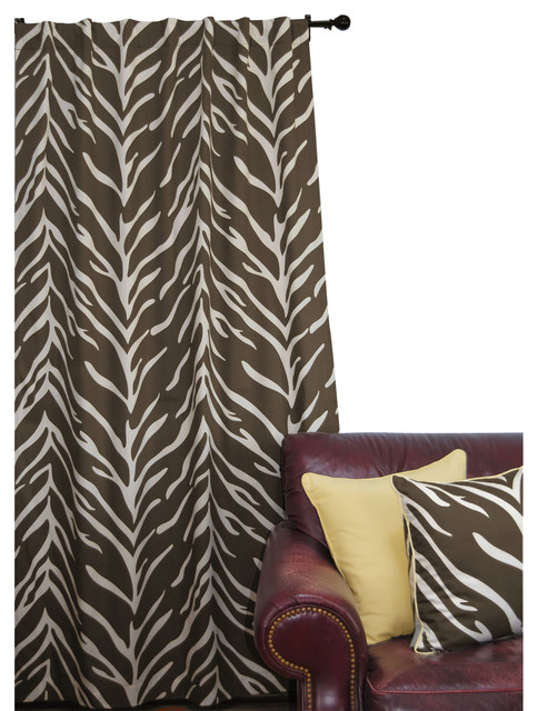 EZ Living Home Zebra Window Panel 84L Cream on Brown contemporary-curtains