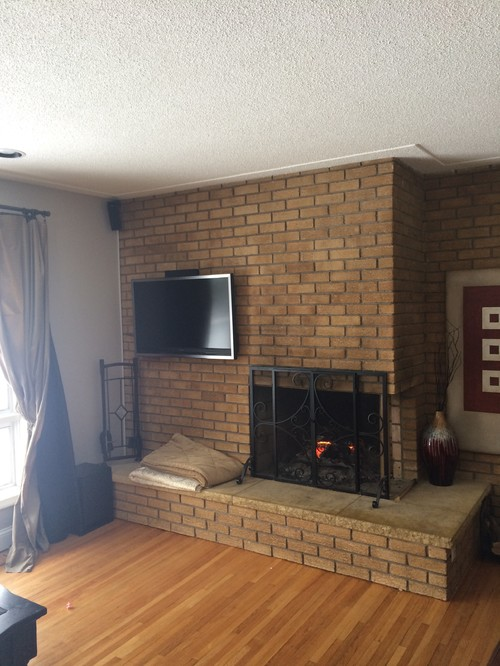 Updating floor to ceiling brick fireplace