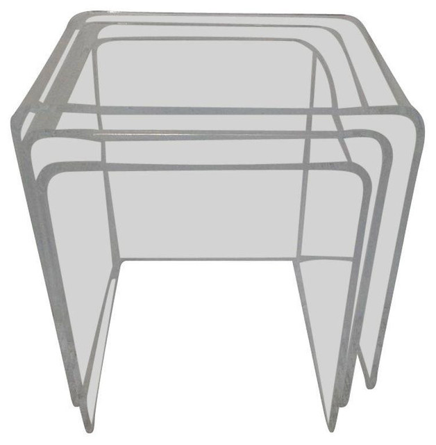 Attractive Lucite Waterfall Nesting Tables   Set Of 3 Contemporary Side Tables And