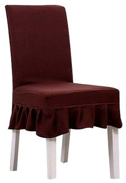 2 Pcs Fit Stretch Chair Covers Seat Short Cloth Elastic Slipcovers Brown