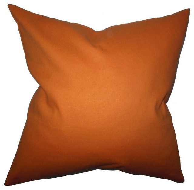 Solid Orange Decorative Pillows : Kalindi Solid Pillow Orange - Contemporary - Decorative Pillows - by The Pillow Collection