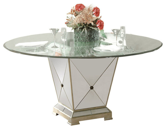 High Quality Borghese Round Pedestal Glass Top Dining Table Dining Tables