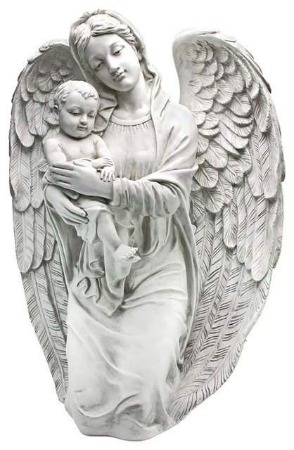 Devoted Protector Guardian Angel Statue Traditional Garden