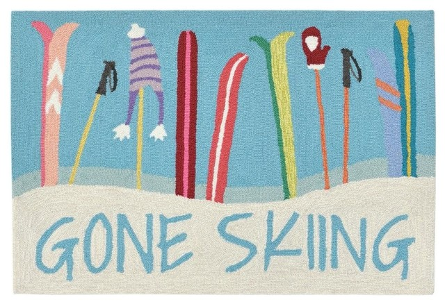 Liora Manne Frontporch Gone Skiing Indoor/outdoor Rug, 24x36.