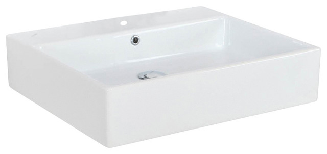 "Simple 60a Ada Wall Mounted/vessel Bathroom Sink In Ceramic White 23.6"" X 19.7"",."
