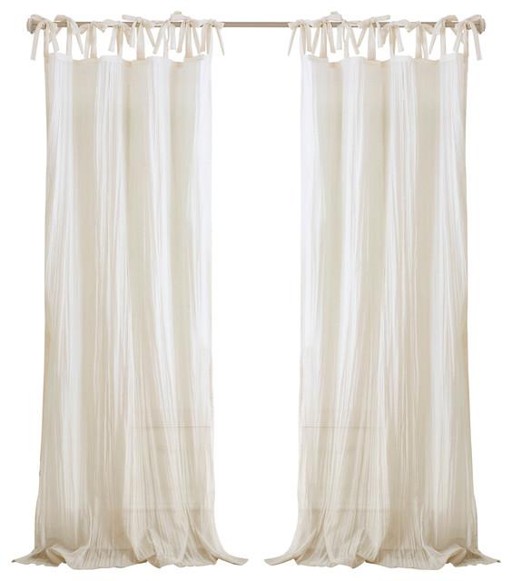 "Jolie Sheer Tie Top Window Curtain, Ivory, 52""x95"""