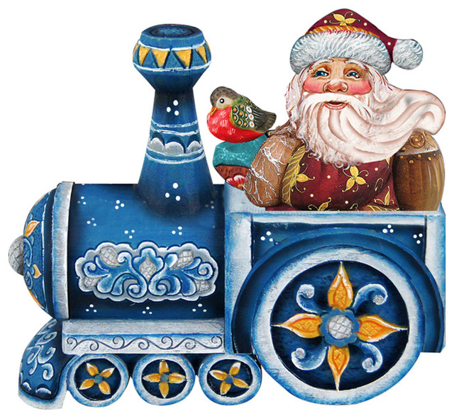 Train Riding Santa, Wooden Decorative Door Hanger.