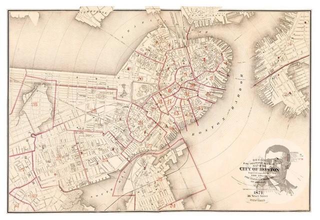 Historic Boston Ma Map 1874 Vintage Massachusetts Art Print