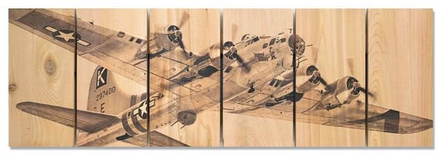 Air Raid Inside/outside Full Color Cedar Wall Art, 32x11.