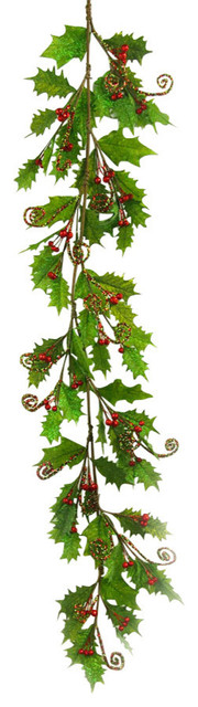 Artificial Holly Garland Rustic Wreaths And Garlands