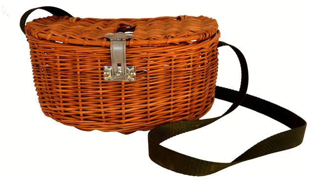 Horizontal Woven Picnic Basket With Strap.