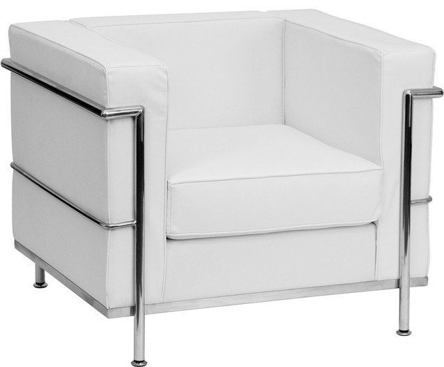 Hercules Regal Series Contemporary White Leather Chair With Encasing Frame