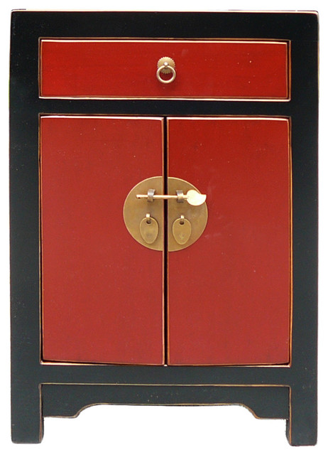 Consigned Chinese Black and Red Round Moon Face End Table Nightstand