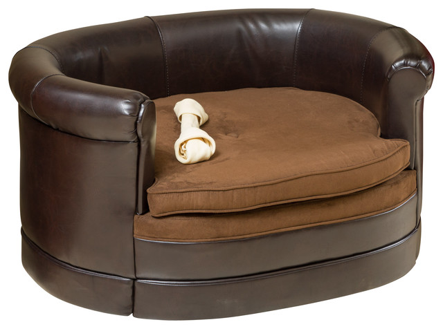 GDFStudio Rover Oval Chocolate Brown Leather Pet Sofa Bed Dog