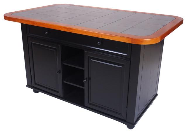 3-Piece Antique Black Kitchen Island Set With Gray Tile Top.