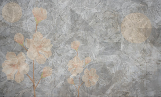 Blooms Wallpaper, Pink, Non-Woven Paper, 107x158.