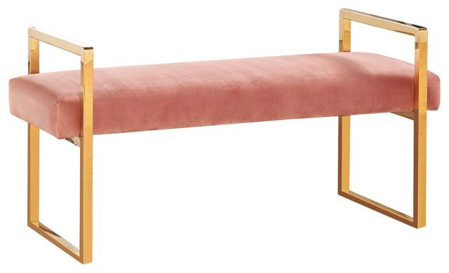 Caldor Velvet Bench, Pink