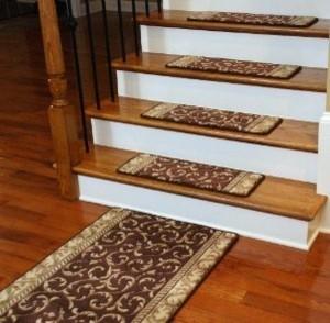 Premium Carpet Stair Treads   Brown Scrollwork PLUS A Matching 5u0027 Runner  Modern Stair