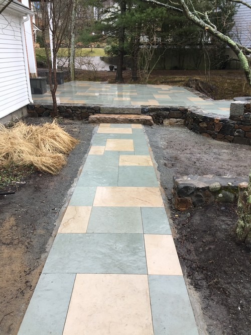 We Just Finished This Sand Stone Raised Patio. Includes Stone Pillars,  Stone Fire Pit, Antique Granite Steps And Sand Stone Walkway.