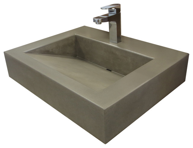 24 Ada Floating Vallum Concrete Bathroom Sink, White Linen, No Hole.