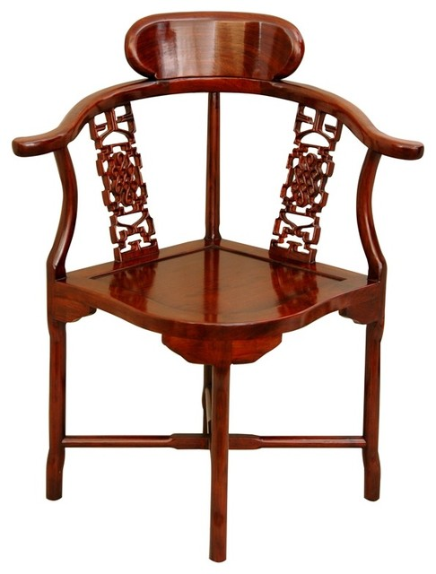 Chinese Rosewood Corner Chair, Honey