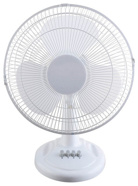 Optimus 12 inch oscillating table fan electric fans houzz for 12 inch oscillating table fan