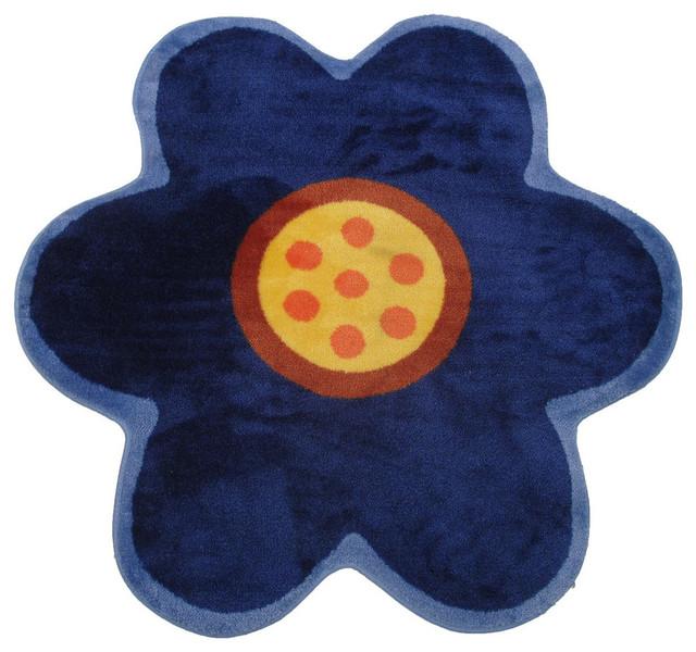 "Blue Poppy Rug, Multi-Color, 39""x39""."
