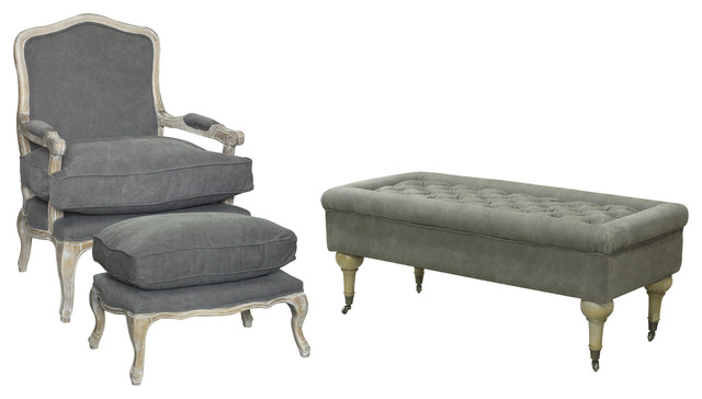 3-Piece Rodney Living Room Seating Set, Material: Fabric, Frost Gray.