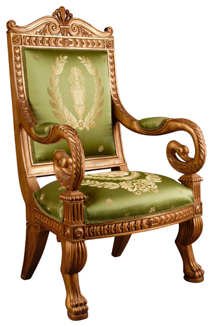 Empire style carved swan s head throne chair victorian