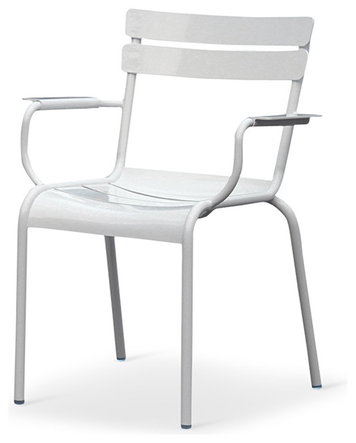 Sheffield Industrial Loft White Metal Outdoor Dining Arm Chair, Pair  Industrial Dining Chairs